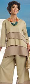 Lisa Rene 3318-Tan - Womens Layered Tunic & Pant Set In Linen Ramie Fabric