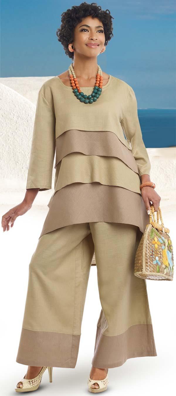 Lisa Rene 3318-Tan - Womens Layered Tunic & Pant Set In Linen Ramie Fabric
