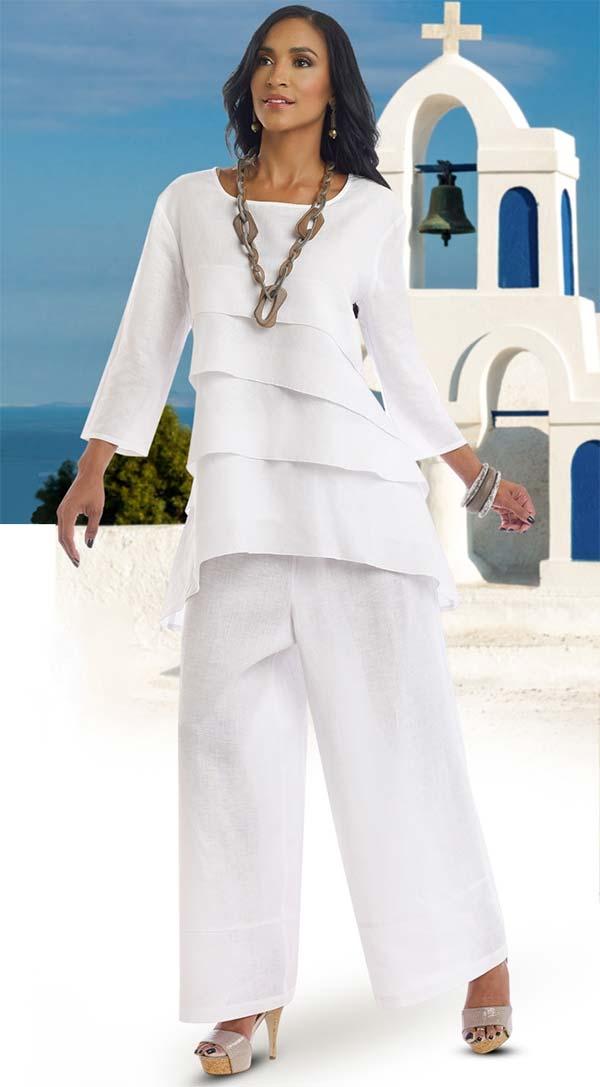 Lisa Rene 3318-White - Womens Layered Tunic & Pant Set In Linen Ramie Fabric