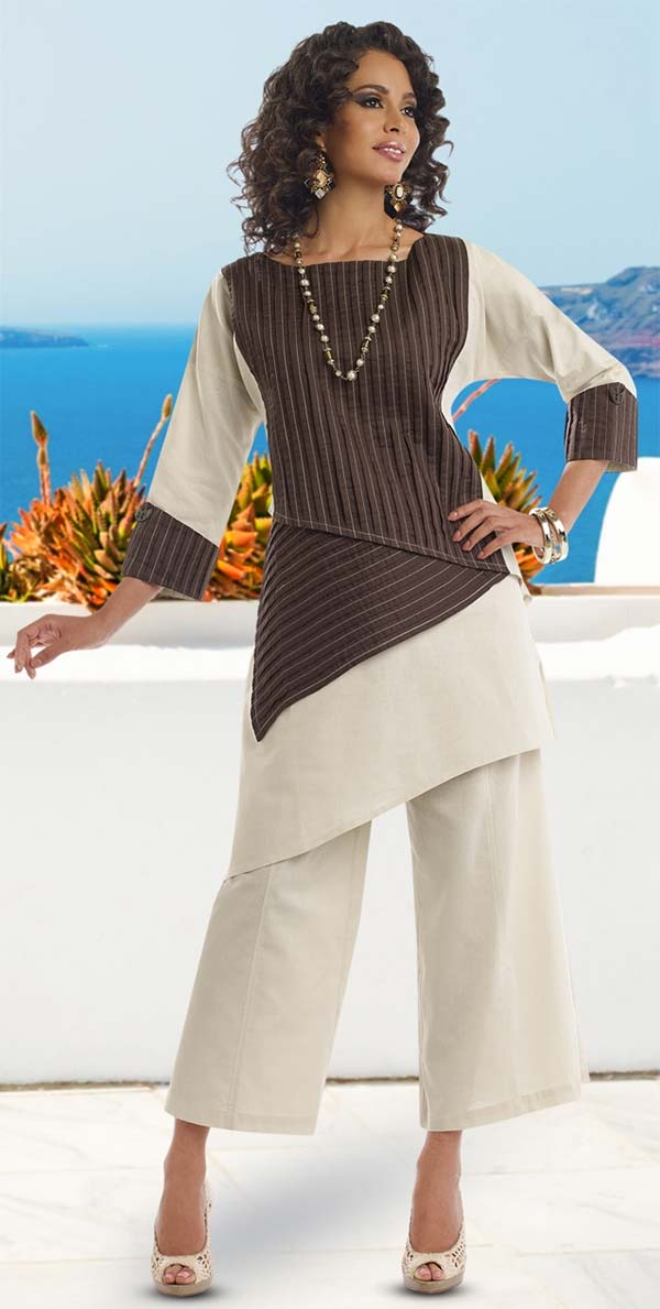 Lisa Rene 3319-BrownBeige - Womens Linen Tilted Hem Tunic With Inset Pleating & Pant Set