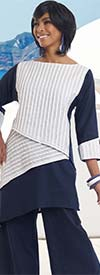 Lisa Rene 3319-WhiteNavy - Womens Linen Tilted Hem Tunic With Inset Pleating & Pant Set