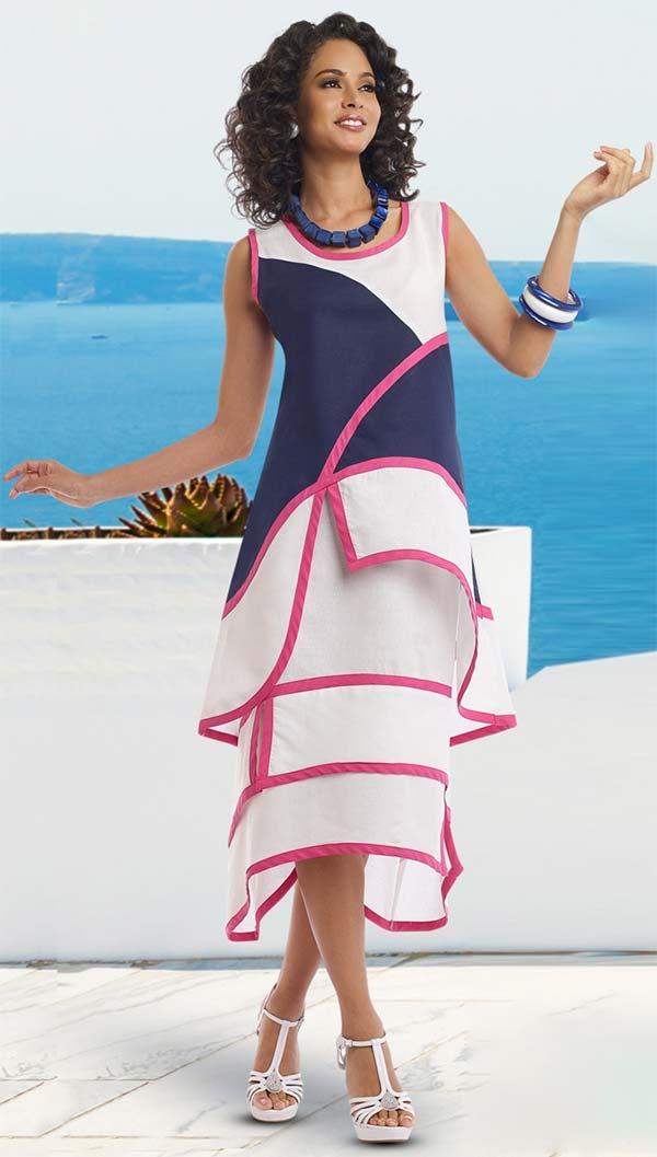 Lisa Rene 3320-FuchsiaNavyWhite - Womens Linen Color Block Tunic & Skirt Set