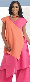 Lisa Rene 3321-HotPinkPeach - Womens Linen Color Block Asymmetric Tunic & Pant Set