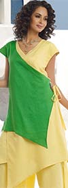 Lisa Rene 3321-YellowGreen - Womens Linen Color Block Asymmetric Tunic & Pant Set
