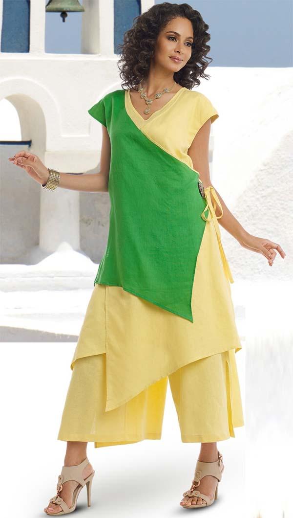Lisa Rene 3321-YellowGreen - Womens Linen Color Block Asymmetric Tunic & Pant Set