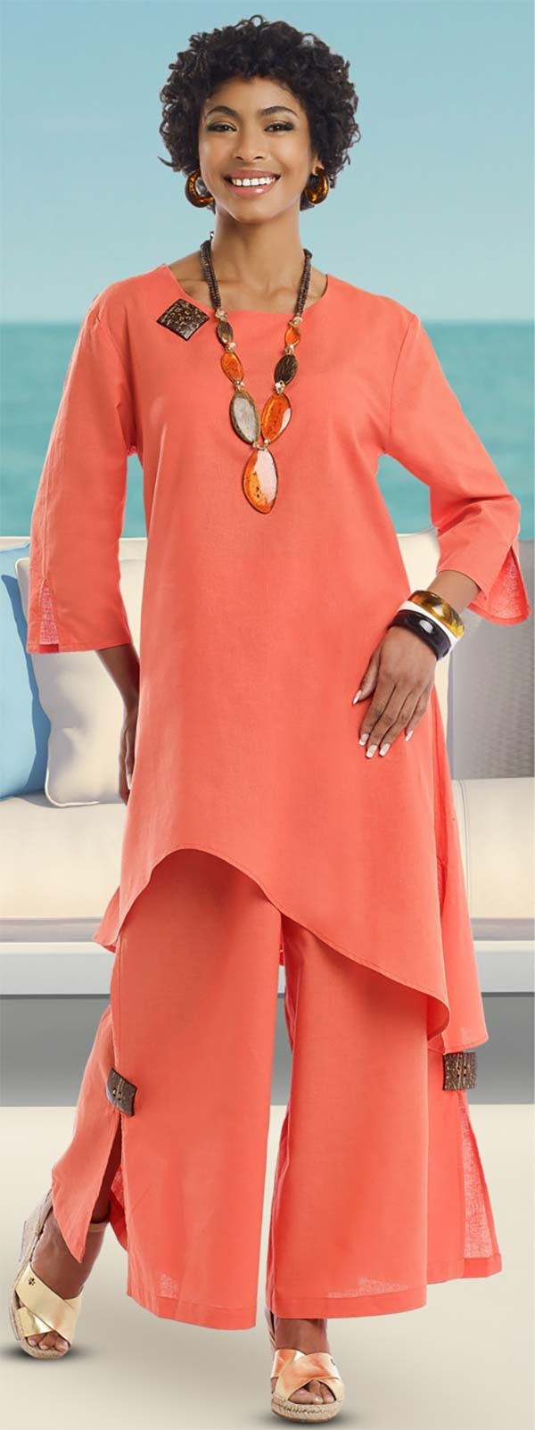 Lisa Rene 3322-Orange - Womens Linen Tunic And Pant Set With Wood Details