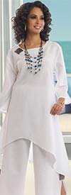 Lisa Rene 3322-White - Linen Tunic And Pant Set With Wood Details