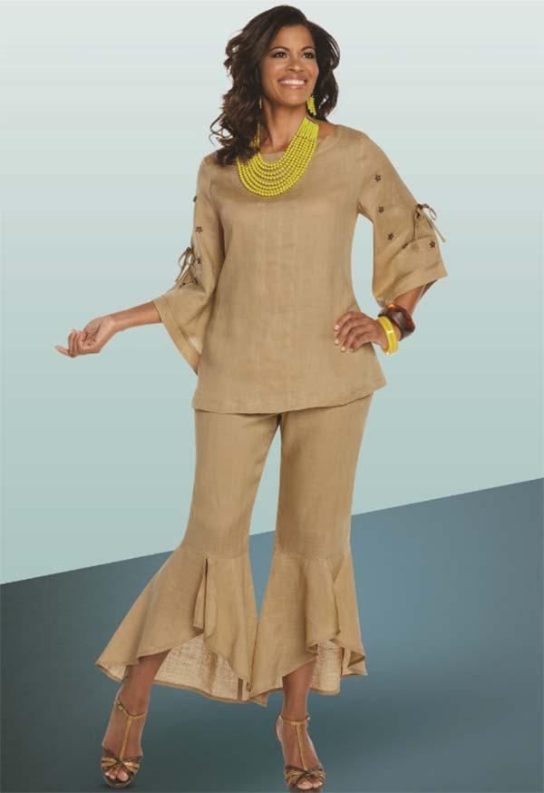 Lisa Rene 3329-Khaki - Moon & Star Embellished Tunic & Flounce Cuff Pant Set
