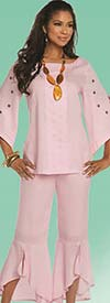 Lisa Rene 3329-Pink - Moon & Star Embellished Tunic & Flounce Cuff Pant Set