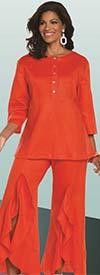 Lisa Rene 3330-BloodOrange - Womens Tunic With Pin Tucking Design & Cascade Flounce Pant Set