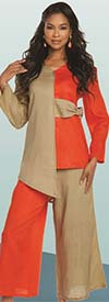 Lisa Rene 3333-BloodOrange - Womens Linen Asymmetric Tunic & Pant Set In Two Tone Design