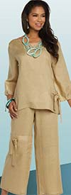 Lisa Rene 3334-Khaki - Womens Linen Ramie Fabric Tunic & Pant Set With Tie Design