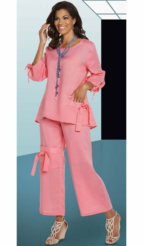 Lisa Rene 3334-PinkLady - Womens Linen Ramie Fabric Tunic & Pant Set With Tie Design
