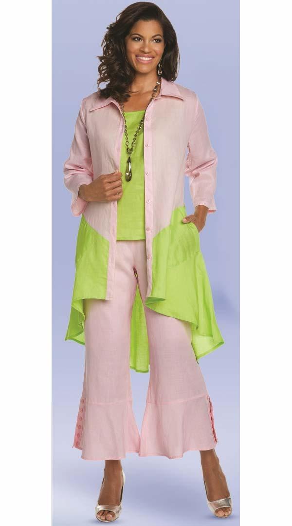 Lisa Rene 3335 - Two Tone High Low Linen Tunic & Pant Set