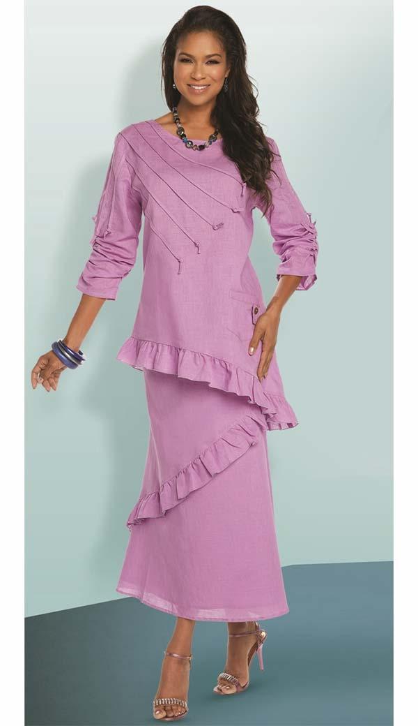 Lisa Rene 3337 - Tilted Ruffle Hem Womens Linen Tunic & Skirt Set With Strapping Trims