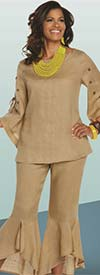 Lisa Rene 3329-Khaki - Moon & Star Embellished Tunic & Flounce Cuff Pant Set