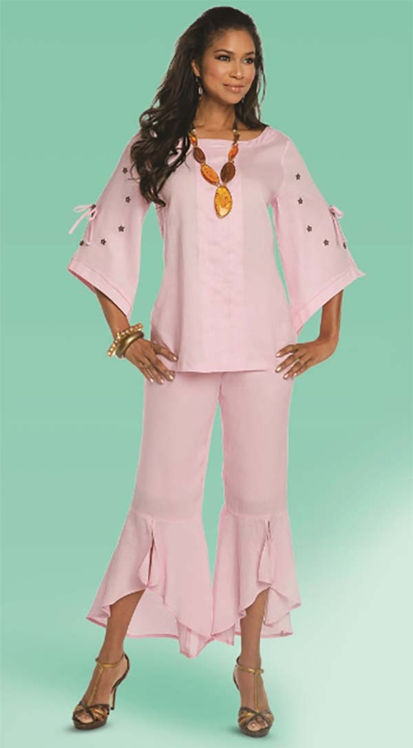 Lisa Rene 3329-Pink - Moon & Star Embellished Tunic & Flounce Cuff Pant Set