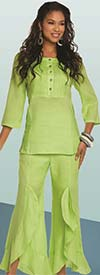 Lisa Rene 3330-Lime - Womens Tunic With Pin Tucking Design & Cascade Flounce Pant Set