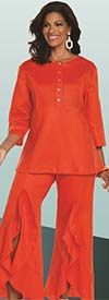 Lisa Rene 3330-Orange - Womens Tunic With Pin Tucking Design & Cascade Flounce Pant Set
