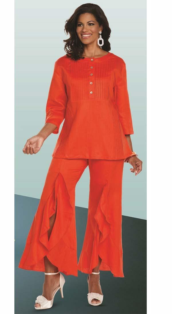 Lisa Rene 3330-Orange - Womens Tunic With Pin Tucking Design & Cascade Flounce Pant Set