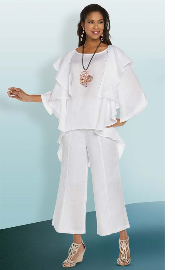 Lisa Rene 3331-White - Linen Tunic With Cascade Front Design & Wide Pant Set