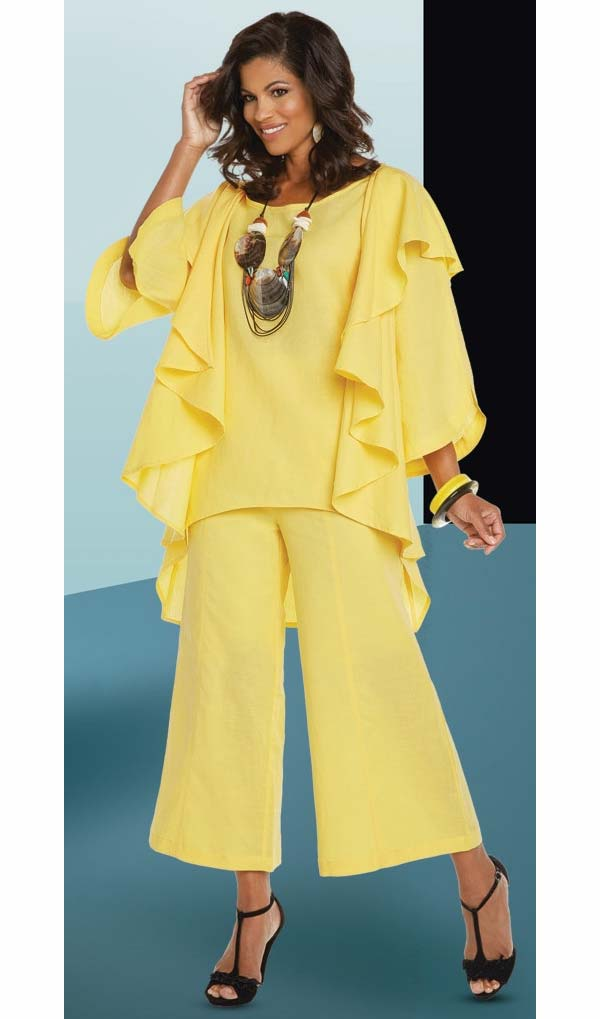 Lisa Rene 3331-Yellow - Linen Tunic With Cascade Front Design & Wide Pant Set