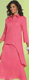 Lisa Rene 3332-Fuchsia - Linen Tunic With High Low Design & Flared Skirt Set