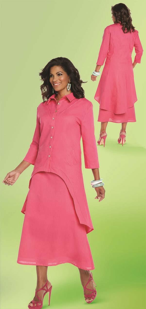 Lisa Rene 3332-Fuchsia - Linen Tunic With High Low Design & Flared Skirt Set