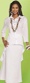 Lisa Rene 3332-White - Linen Tunic With High Low Design & Flared Skirt Set