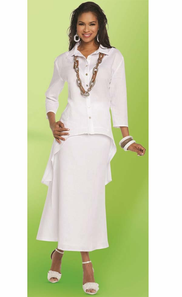 Lisa Rene 3332-White - Linen Tunic With High Low Design & Flared Skirt Set