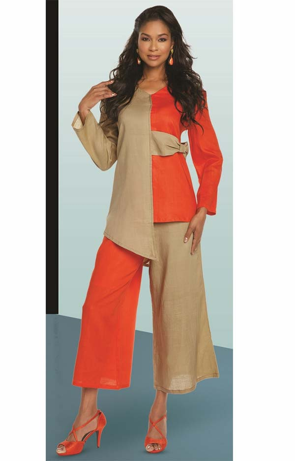 Lisa Rene 3333-OrangeKhaki - Two Tone Design Asymmetric Tunic & Pant Set
