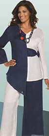 Lisa Rene 3333-WhiteNavy - Two Tone Design Asymmetric Tunic & Pant Set