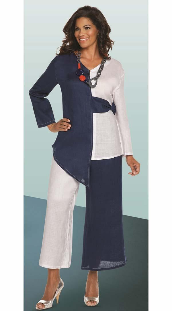 Lisa Rene 3333-WhiteNavy - Two Tone Design Asymmetric Tunic & Pant Set