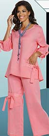 Lisa Rene 3334-Pink - Womens Linen Ramie Fabric Tunic & Pant Set With Tie Design
