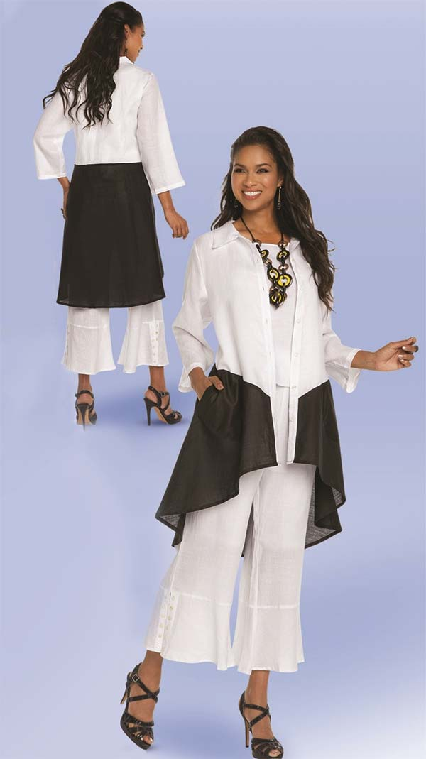 Lisa Rene 3335-WhiteBlack - Two Tone High Low Linen Tunic & Pant Set