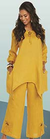 Lisa Rene 3336-Mustard - Linen Tunic With Shark Bite Design & Wide Pants
