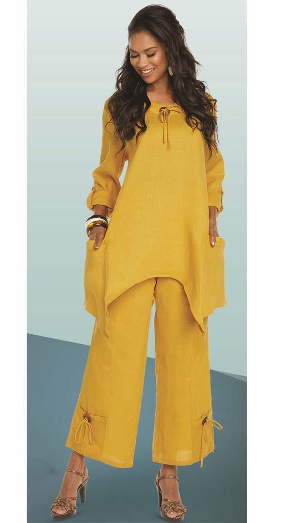 Lisa Rene 3336-Mustard - Linen Tunic With Shark Bite Design & Wide Pants