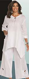 Lisa Rene 3336-White - Linen Tunic With Shark Bite Design & Wide Pants