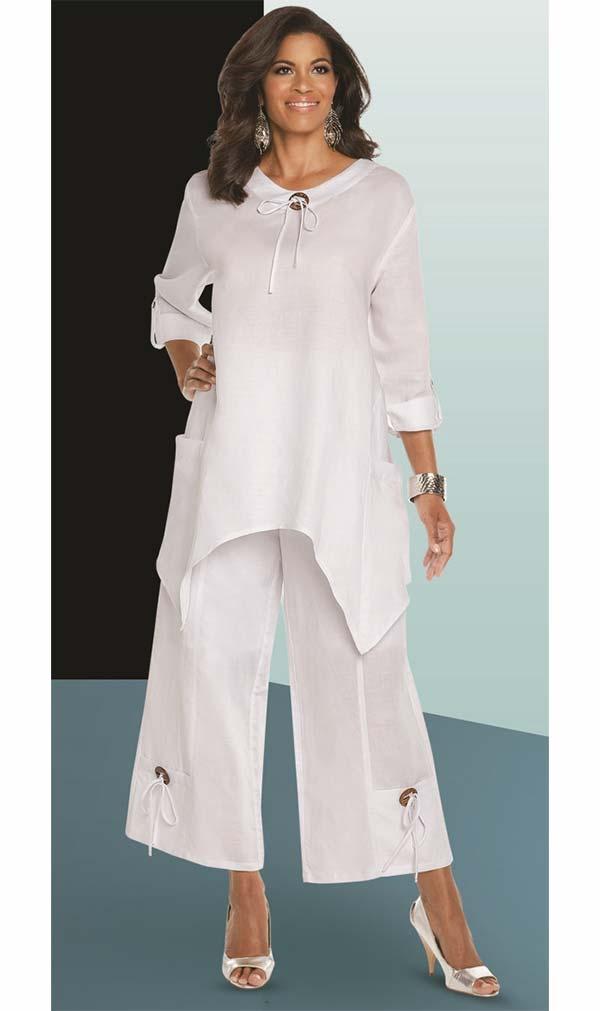 Lisa Rene 3336-White - Linen Tunic With Shark Bite Design & Wide Pants