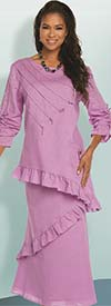 Lisa Rene 3337-Lavender - Ruffle Hem Womens Linen Tunic & Skirt Set With Strapping Trims