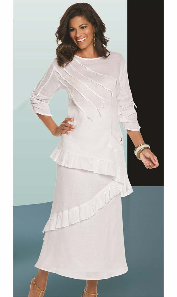 Lisa Rene 3337-White - Ruffle Hem Womens Linen Tunic & Skirt Set With Strapping Trims