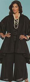 Lisa Rene 3338-Black - Womens Linen High Low Tunic & Wide Pant Set With Camisole