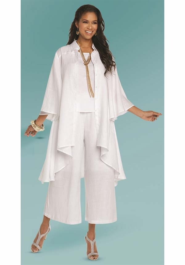 Lisa Rene 3338-White - Womens Linen High Low Tunic & Wide Pant Set With Camisole