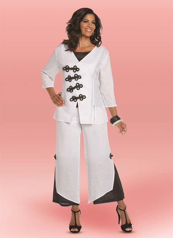 Lisa Rene 3339 - Ladies Linen Tunic With Frog Style Closures & Layered Cuff Pant Set