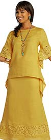 Lisa Rene 3342-Mustard - Embroidered Design Ladies Linen Tunic With Skirt