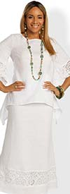 Lisa Rene 3342-White - Embroidered Design Ladies Linen Tunic With Skirt