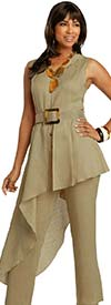 Lisa Rene 3347 - Womens Linen Jumpsuit With Side Hi-Low Design