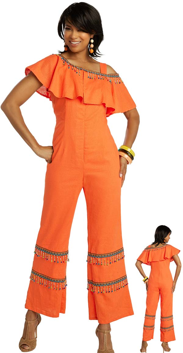 Lisa Rene 3350 - Womens Linen Jumpsuit With Over Shoulder Ruffle Detail