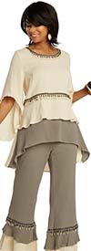 Lisa Rene 3358 - Womens Bell Sleeve Linen Tunic With Tiered Cuff Pants