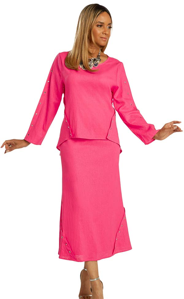 Lisa Rene 3359-Fuchsia - Ladies Hi-Lo Linen Tunic And Skirt Set With Stud Trims